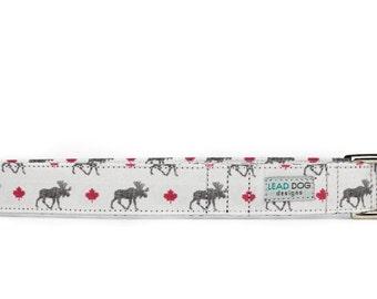 Moose Dog Collar, Rustic Dog collar, boy dog collar, grey dog collar, Canadian maple leaf, woodland dog collar, dog collars for large dogs