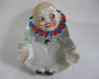 Happy Face Clown/Harlequin Lusterware and Cold Painted Spoon Rest or Ashtray - Made in Japan