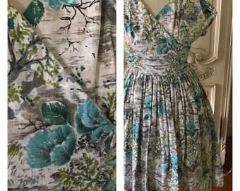 1959s Vintage Dress Blue Dove Grey Cotton Floral Day Dress Full Skirt