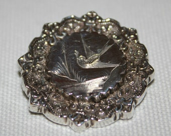 Antique Silver Bird & Fleur-De-Ly Motif Brooch