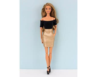 Golden faux-leather skirt for Barbie and Poppy Parker