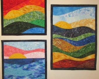 Art Quilts Three Small Quilts, Wall Hanging