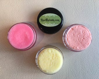 Spa Uptown LIP SCRUB Collection: all Natural, Organic, Nectarine, Pink Lemonade, Fizzy Lemonade-Vegan-Handmade