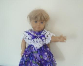 Crocheted shawl w/purple dress