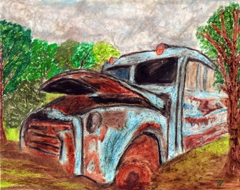 Old Bus Drawing