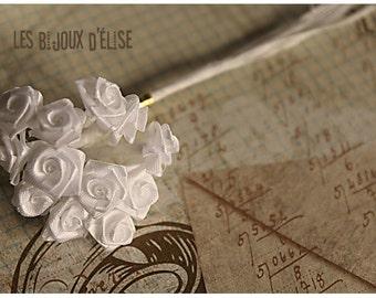 Sale 50% - 12 pcs White Rose Bouquet 8mm  (Bouquet003)