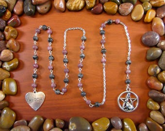 Larvakite & Lepidolite Witches Ladder - Black Labradorite, Witches Ladder, Wicca, Wiccan, Wiccan Prayer Beads, Paranormal, Occult, Witch