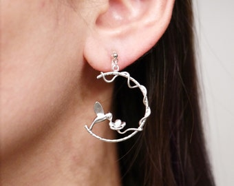 Silver Humming Bird with Flower Clip On Earrings, Invisible Clip On Earrings, Non pierced Earrings