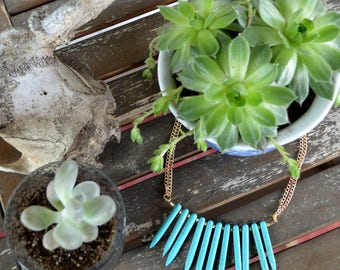 SALE Oceana Turquoise Stone Spike Necklace