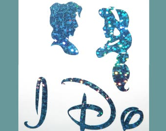 NEW Disney Inspired Aladdin and Jasmine I Do Shoe Stickers You Pick Color Sparkly Wedding Shoe Decals