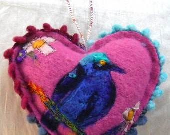 Felted Embroidered Blue Starling Bird Wool Pink heart lavender filled.