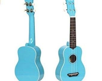 Light Blue Custom Hand Painted Soprano Ukulele, Decorated Ukulele, adult ukulele, painted soprano, ukulele instrument, ukelele