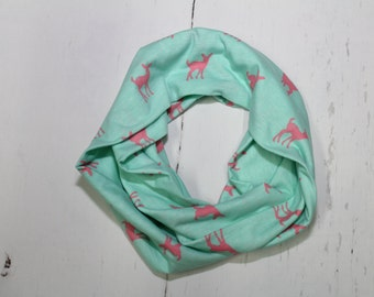 Infinity Scarf - Pink Fawn on Aqua, Women's Infinity Scarves, Cowl, Fashion Accessory