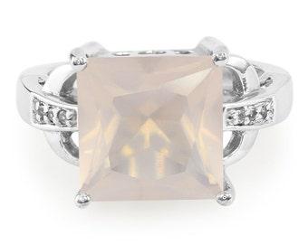 4.30ctw Rose Quartz & White Topaz Sterling Silver Ring Size 7