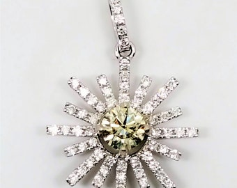 Yellow and White Diamond .62ctw 14kt White Gold Pendant