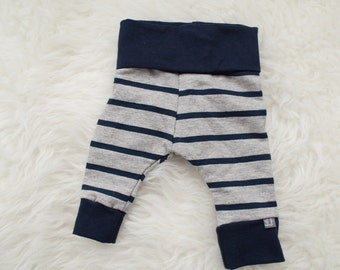 grey and navy striped pants by little lapsi. ready to ship
