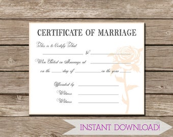 Keepsake Marriage Certificate Faded Pink Shabby Rose - Instant DIGITAL DOWNLOAD