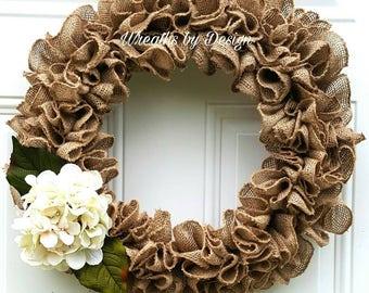 Burlap Wreath-Door Wreath-Hydrangea Wreath-Burlap-Spring Wreath-Year around wreath