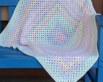 Handmade Baby Blanket/Afghan Crocheted Pastel Multi Colored Granny Square