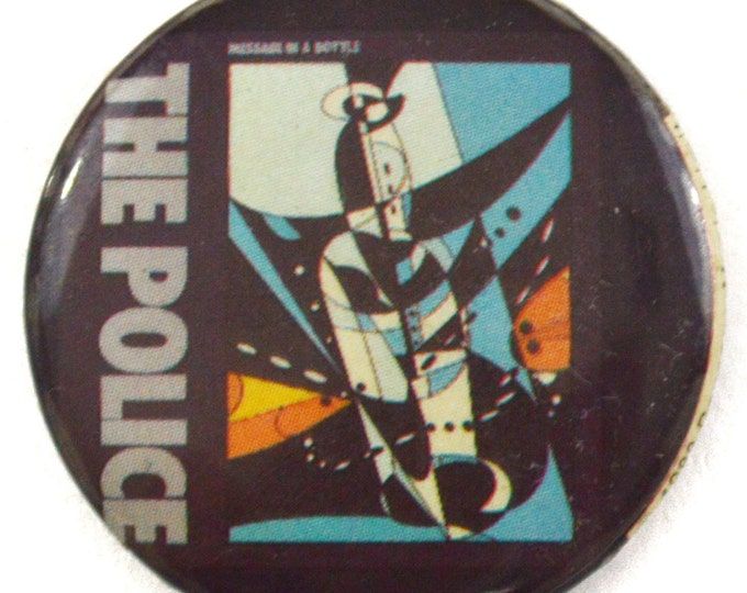 Vintage 80s The Police Message in a Bottle Pinback Button Badge Pin