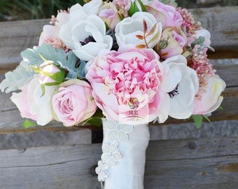 handmade artificial flower vintage bridal bouquet pink white anemone rose peony