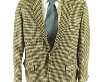Vintage 60s Harris Tweed Houndstooth Tweed Sport Coat 42 [H18S 2lb 13oz]