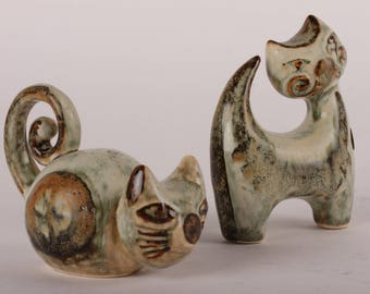 Joseph Simon and Søholm - 2 Cats made of stoneware from  Denmark mid century