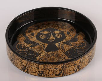 Bjørn Wiinblad Bowl no 3029 - 1285 with girl and birds in black and gold by Nymølle Denmark - Danish mid century