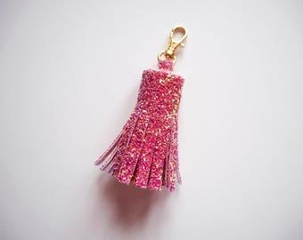 Pink & Rose Gold Glitter Tassel Keychain, Pink Glitter Tassels, Sparkly Pink Tassel Keyring, Pink Glitter Keychain, Rose Gold Glitter,