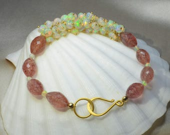 Ethiopian Opal with Strawberry Quartz Bracelet