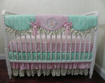 Custom Baby Girl Bedding Set Lucca - Mint, Pink, and Gold Baby Bedding, Girl Crib Bedding, Arrow Baby Bedding, Crib Rail Cover, Ruffle Skirt
