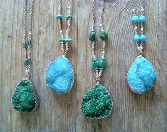 Silver Druzy Necklaces - Druzy Pendant Silver Chain Necklace Gemstone Bridesmaid Gift Boho Jewelry Drusy Gifts Under 50 OOAK