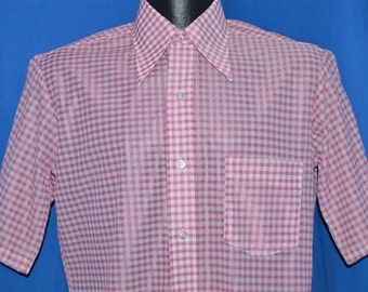 70s Towncraft Pink White Checkered Disco Shirt Small