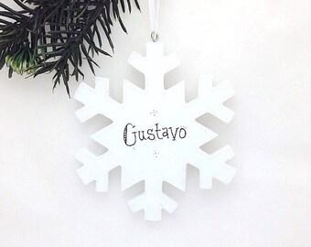 FREE SHIPPING Snowflake Personalized Christmas Ornament / Elegant Snowflake / Gift under 20
