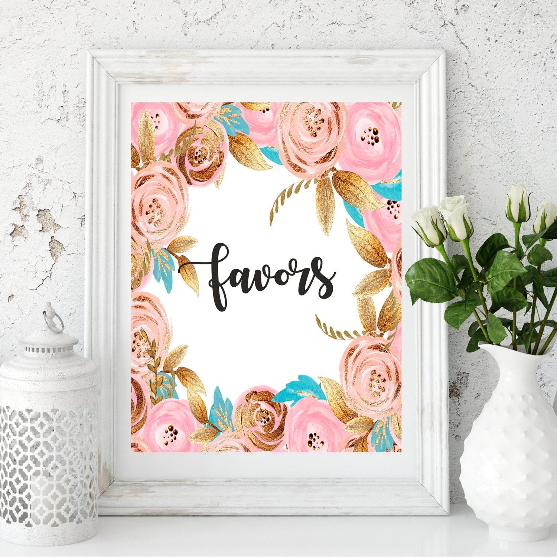 Favors Sign, Bridal Shower Sign, Wedding Favors Sign, Favors ...