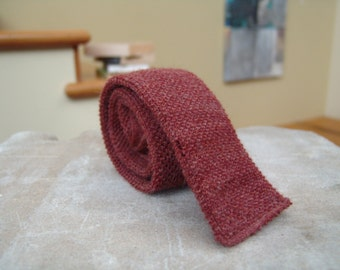 Roosternit skinny knit wool tie cranberry men's present gift holiday mohair O'Neils