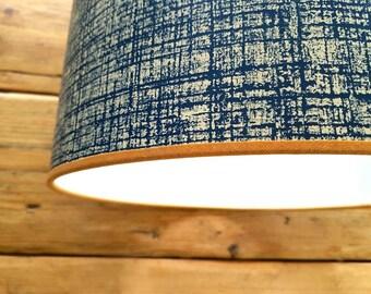 Scion 'Khadi' Denim Wallpaper Lampshade with Tan Mustard Trim