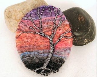 Wire wrapped tree, needle felted, felt, brooch, pin