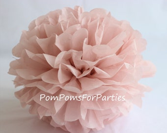1 High Quality ASH PINK Tissue Pom Pom - Choose any of 50 colours - Hanging  Paper flower - Tissue paper balls - Tissue paper pom poms