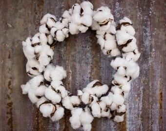 SALE Cotton Wreath, 22 Inch Cotton Boll Wreath,  Cotton Wreath , Farmhouse Cotton Wreath ,  Faux Cotton Wreath ,  Faux Rustic Cotton Wreath