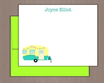 Personalized Note Card Set, Flat Note Cards, Personalized Stationery, Personalized Stationary, Thank you Notes, Camper Note Cards, Glamper