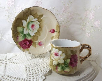 Heritage Brown by Lefton Tea Cup and Saucer, Marked Lefton, Hand Painted, 1883
