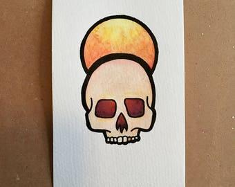 SALE Original Watercolor Skull