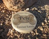 "Custom Engraved Pet Memorial Stone 7.5"" Diameter 'Forever Missed Forever Loved' (Max 12 characters for name and years only)"