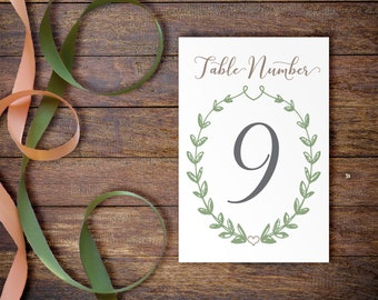 Printable Table Numbers, Simple Table Numbers for Wedding, Wedding Table Decor, Sage Green Wedding Decorations