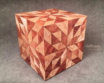 Hunter's Star Quilt Design Wooden Cube Box