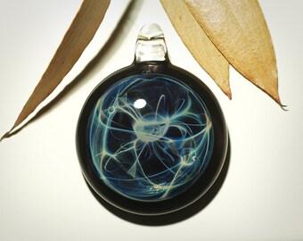 Glass Pendant Handblown Boro Lampwork Glass Jewelry - Blue Sparkle - Universe - Free Shipping - Creative Flow Glass - Glass Jewelry Bead