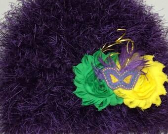 Child Mardi Gras hat-Mardi Gras fascinator-mardi gras hat-3 in 1 hat-shabby Mardi Gras flower-mardi gras hair clip-mardi gras crochet hat