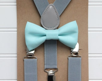 Bowtie and Suspenders Set/Aqua Bowtie/Gray Suspenders/Baby and Toddler Bowties/Birthday and Wedding Sets