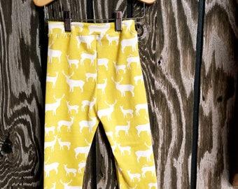 Yellow Elk Organic Baby Leggings // Birch Fabrics Organic Cotton Baby Leggings >> Ready to Ship << Toddler Pants Leggings Birch Fabrics